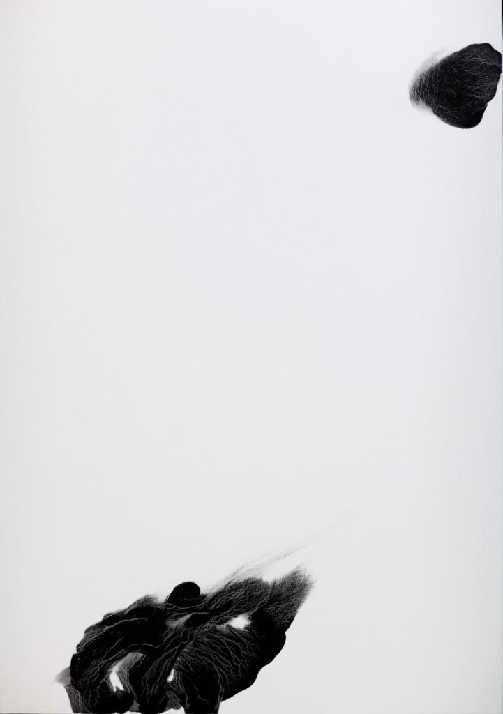 contemporary art paintings by mojgan moslehi and michel sicard, Sans titre de la série Dark energy, technique mixte sur toile, 210 x 140 cm, 2012