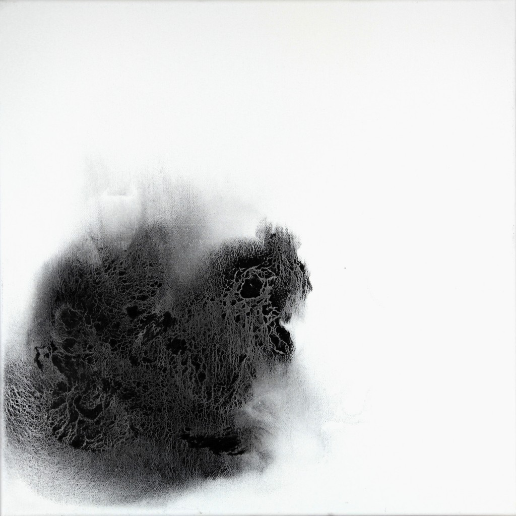 contemporary art paintings by mojgan moslehi and michel sicard, Sans titre de la serie Dark energy, technique mixte sur toile, 50 x 50 cm, 2010
