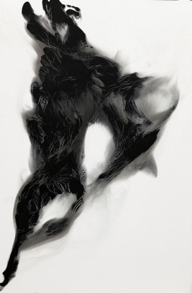 contemporary art paintings by mojgan moslehi and michel sicard, Sans titre de la série Dark energy, technique mixte sur toile, 210 x 140 cm